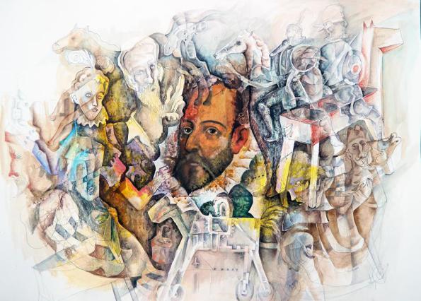 «Cervantes y Quijotes», de Felipe Alarcón Echenique (cuadro perteneciente a su serie «Sueños cervantinos»).