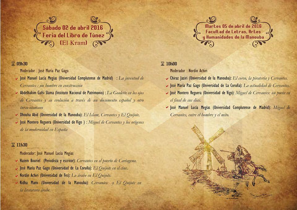 """Programa del Coloquio Internacional """"Cervantes y Túnez"""""""