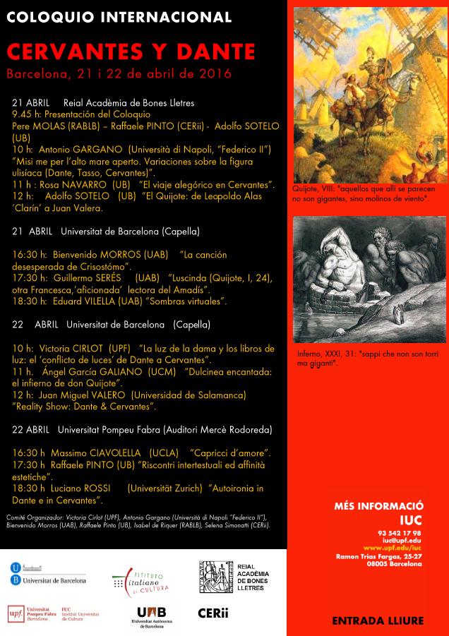 Cervantes y Dante: Congreso Internacional (Barcelona, 21-22 abril)