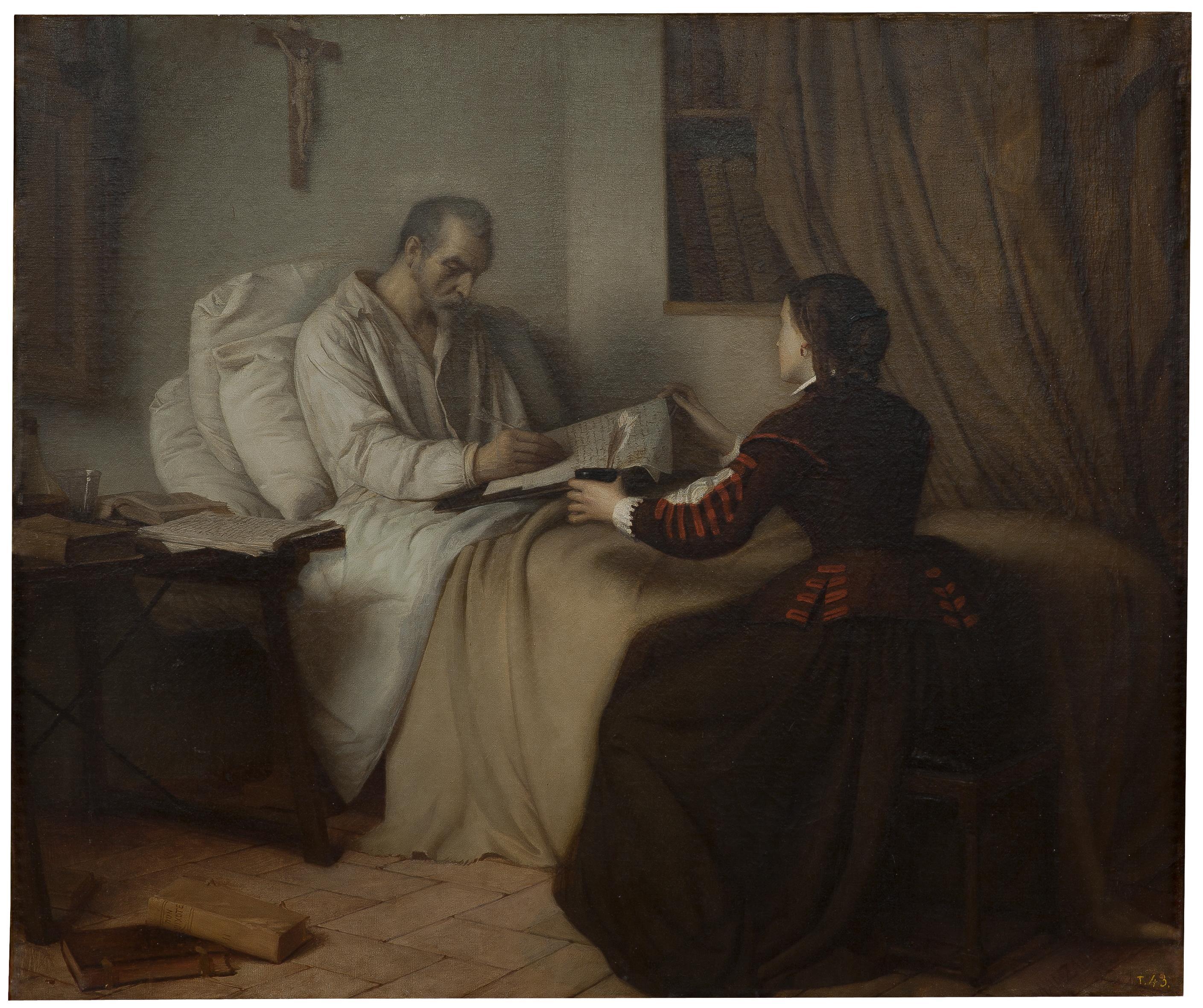 Últimos momentos de Cervantes, Víctor Manzano [Copyright de la imagen ©Museo Nacional del Prado]