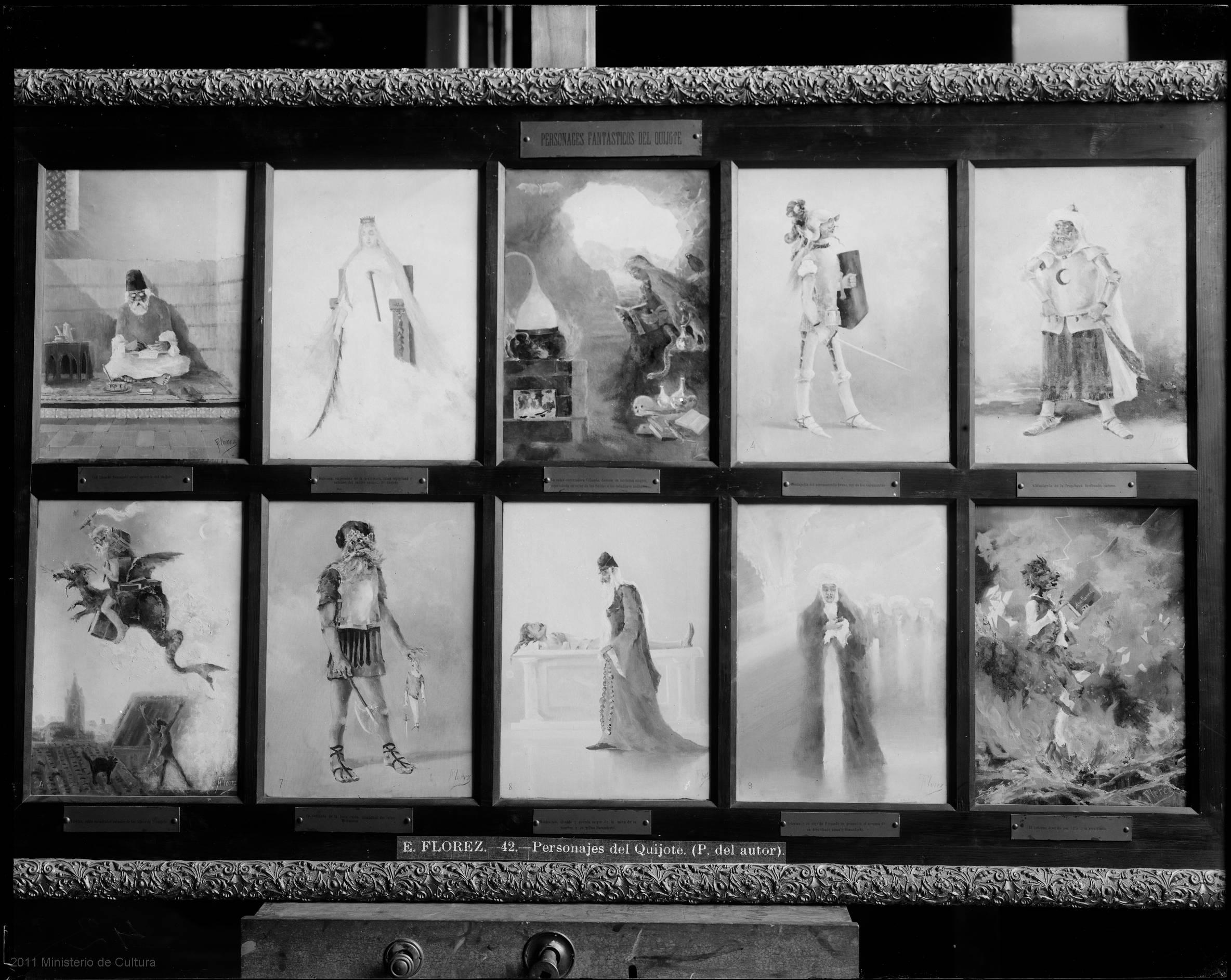 [E. FLOREZ - 42 - PERSONAJES DEL QUIJOTE. (P. DEL AUTOR)] [Material gráfico] / [Archivo Moreno]. Entre 1893-1954 [Fuente: BVPB a partir del Instituto del Patrimonio Cultural]