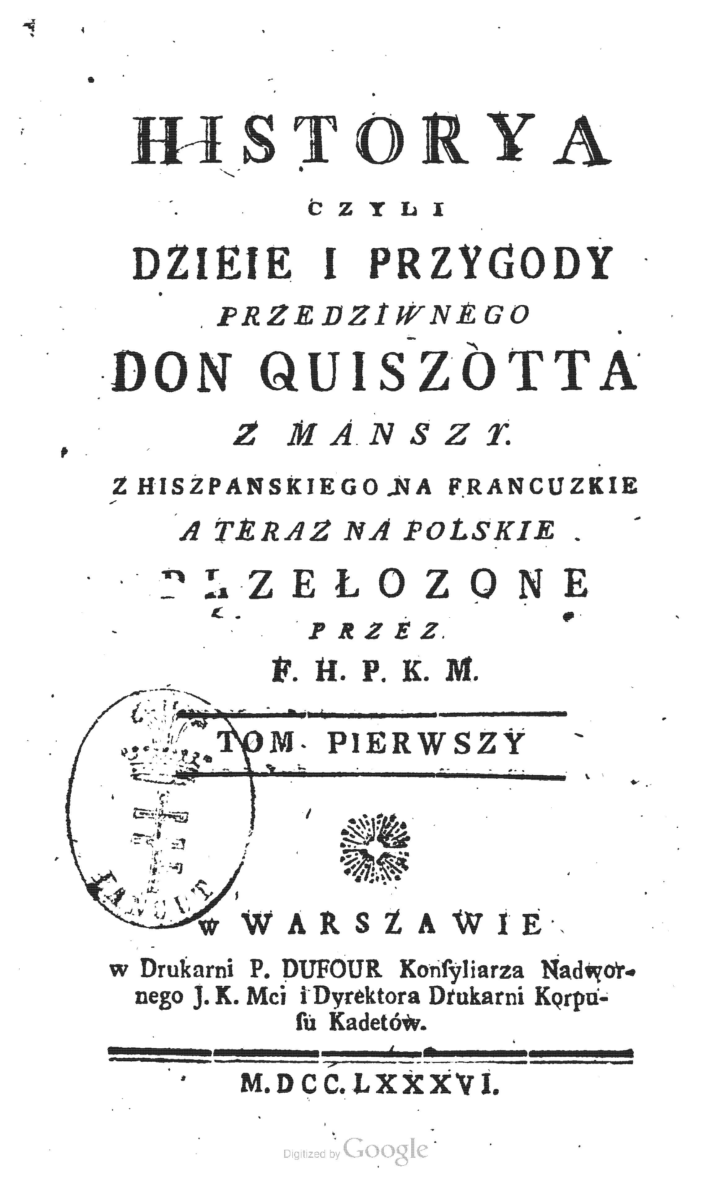 Primera traducción del Quijote al polaco (1786)