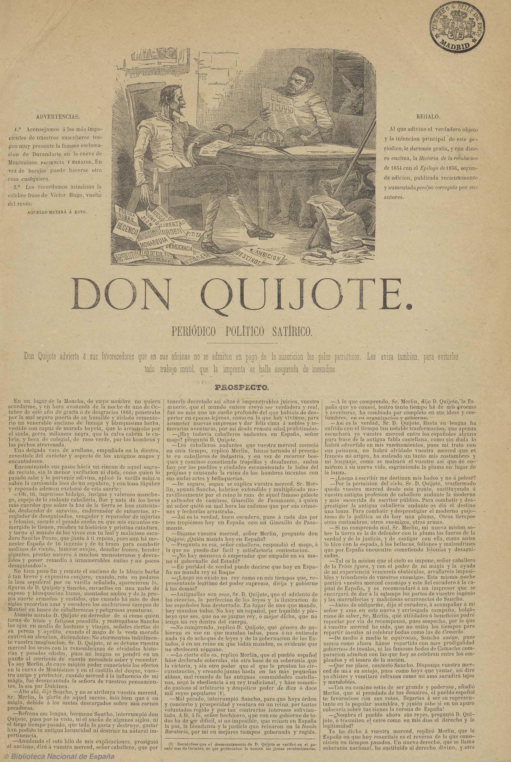Don Quijote (Madrid. 1869) [fuente: Biblioteca Nacional de España]