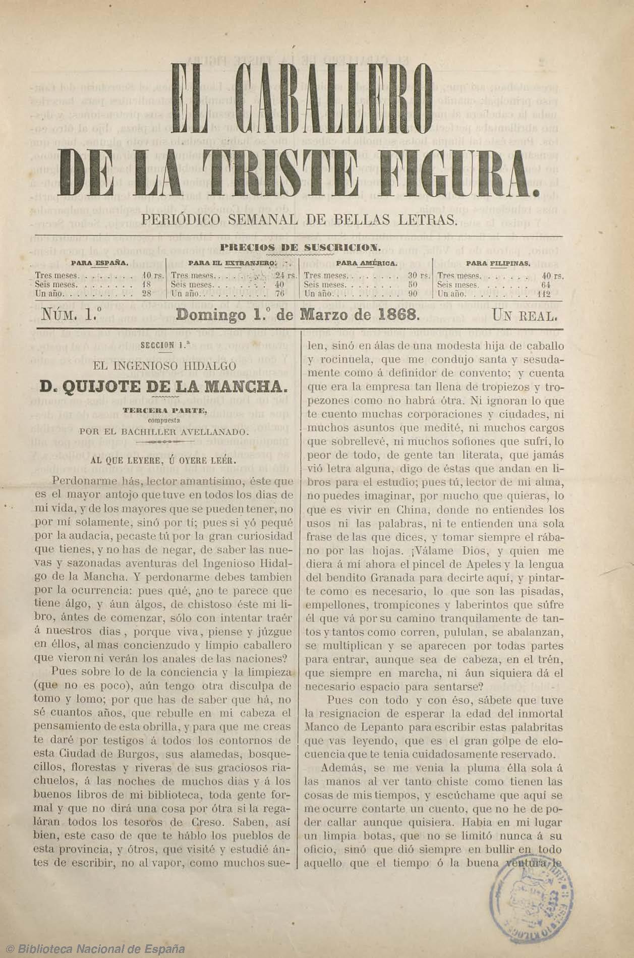 El Caballero de la triste figura. 1-3-1868, n.º 1 [fuente: Biblioteca Nacional de España]