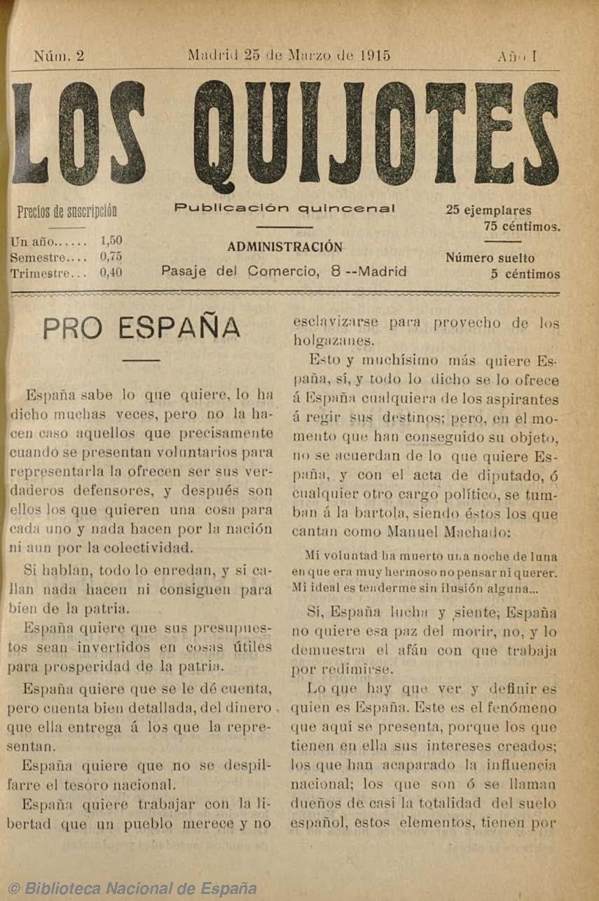 Los Quijotes (Madrid). 25-3-1915, n.º 2 [fuente: Biblioteca Nacional de España]